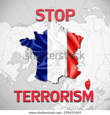 France flag fabricfont stop terrorism world stock illustration france flagp of fabricfont stop terrorism and world map background gumiabroncs Gallery