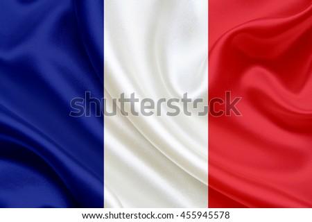France flag of silk - stock photo