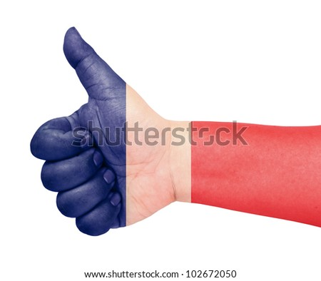 France flag on thumb up gesture like icon - stock photo