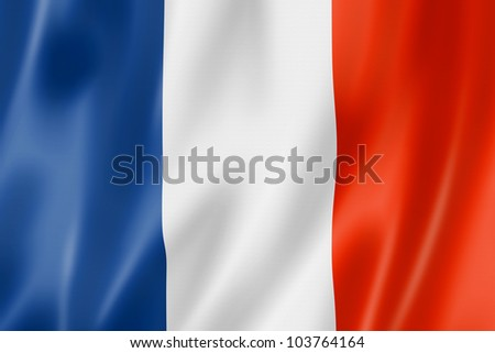 France flag, three dimensional render, satin texture - stock photo
