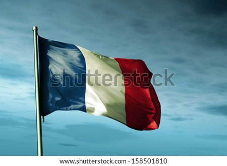 France flag waving in the evening - stock photo