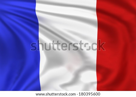 France flag waving in the wind. High quality illustration.  - stock photo