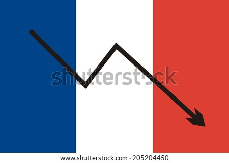 France flag with economic falling graph  - stock photo