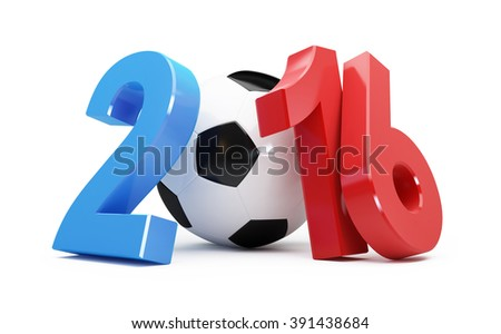 France 2016 football 3d Illustrations on a white background - stock photo