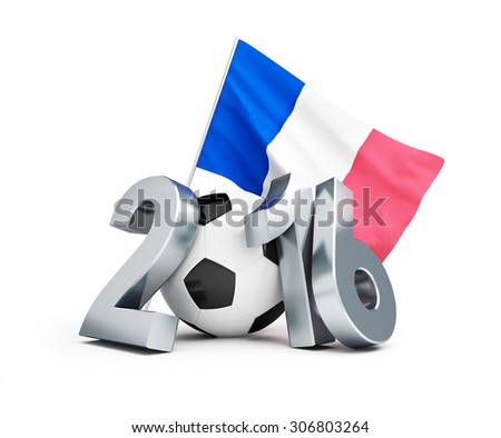 France football 2016, flag of France. 3d Illustrations on a white background  - stock photo