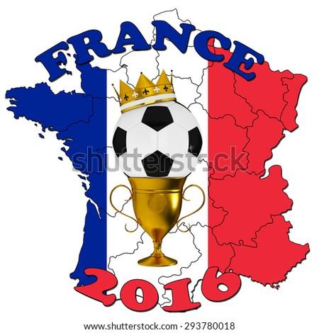 France 2016 Football poster - stock photo