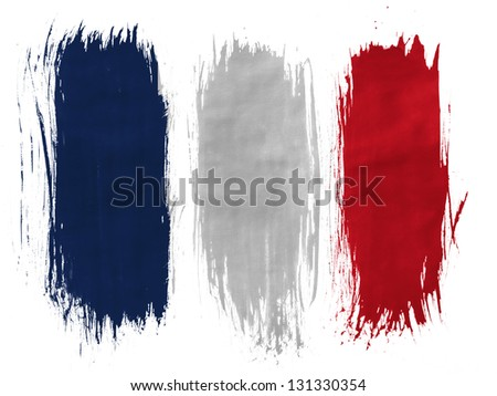 France. French flag  painted with 3 vertical  brush strokes on white background - stock photo