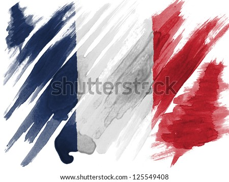 France. French flag  painted with watercolor on paper - stock photo