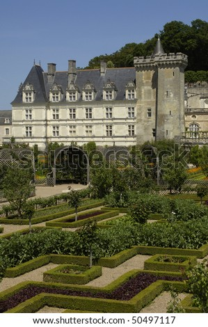 France, French formal garden at the castle of Villandry