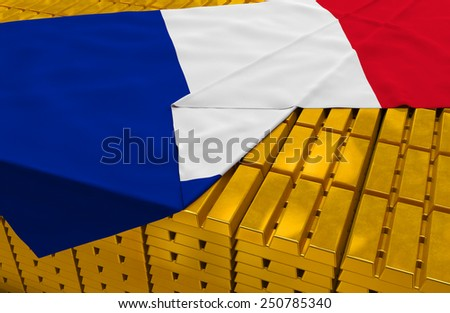 France gold reserve stock: golden bars (ingots) are covered with french flag in the storage (treasury) as symbol of national gold and foreign currency reserves, financial health, economic growth - stock photo
