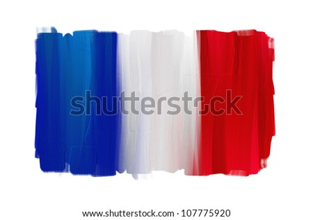 France hand painted national flag isolated on white - stock photo