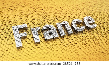 France headline. Pixelated word France made from matrix mosaic cubes. 3D illustration image