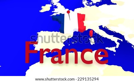 France is highlighted on an European Map, the flag is shown as a texture of the country outline and the country name is visible in front. - stock photo