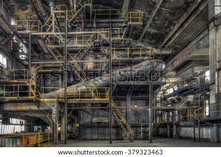FRANCE - JULY 19: Decaying boiler room in an abandoned power plant on July 19, 2015 somewhere in France