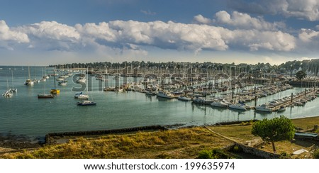 FRANCE LA TRINITE-SUR-MER  AUG 28: view of boats in marina of la trinite-sur-mer town on 28 august 2013. The marina of the town accomodates several hundrets yachts