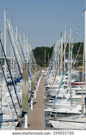FRANCE LA TRINITE-SUR-MER 28 AUG: view of marina of la trinite-sur-mer town on 28 august 2013 The marina of the town accomodates several hundrets yachts