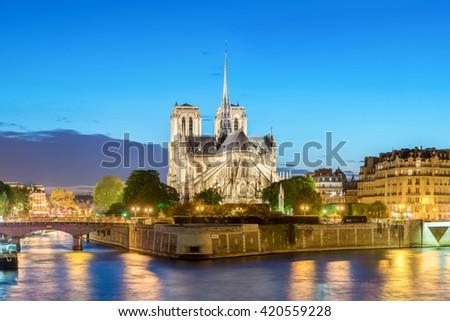 France landmarks - Cathedral of Notre Dame de Paris at sunset. Paris, France  - stock photo