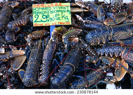France, lobsters at the market of Le Touquet Paris Plage - stock photo