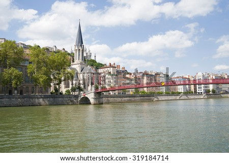 France, Lyon - August 3, 2013: Bridge Pasrel-Saint-Georges, leading to the church of of the 19th century.