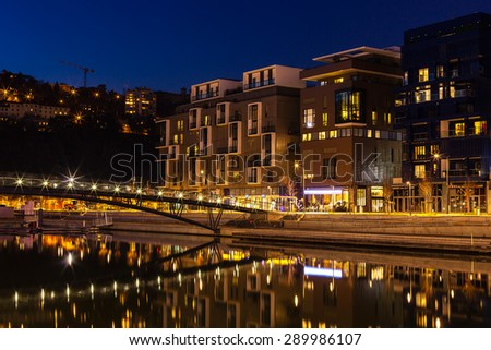 FRANCE, LYON - FEBRUARY 19: The Confluence District in Lyon, France on February 19, 2013. New district with an modern architecture in the place of the old port. Night shot