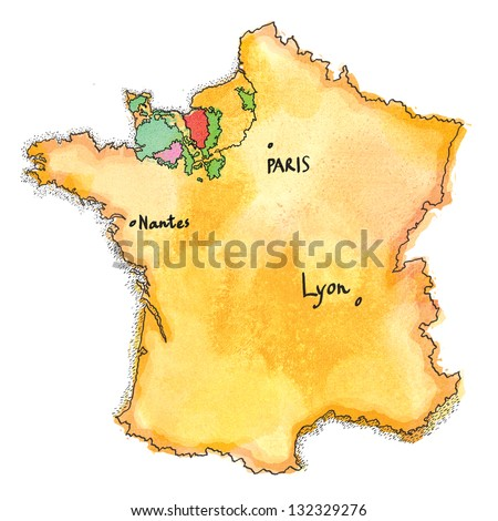 France Map Drawing Region France Where Stock Illustration 132329276