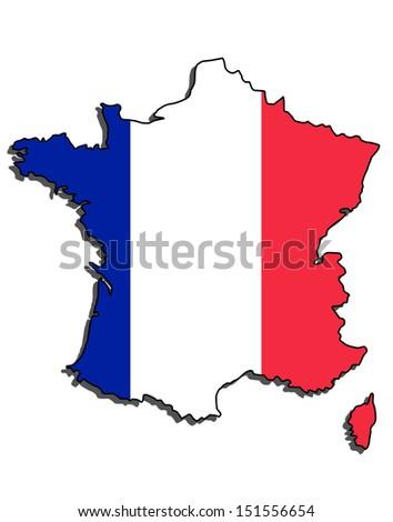 france map flag - stock photo