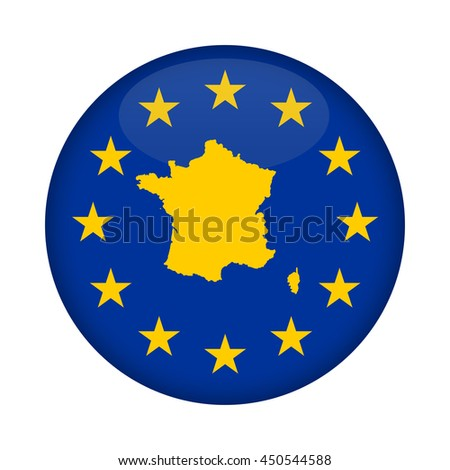 France map on a European Union flag button isolated on a white background. - stock photo