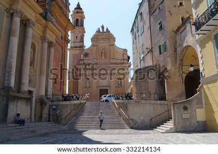 FRANCE, MENTON - CIRCA JUNE 2015: Saint-Michel church in Menton