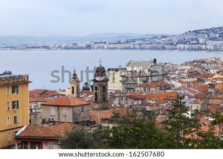 France , Nice. View of the city and the coast from the Bay of Angels Hill Chateau Nice - one of the resorts of the C�´te d'Azur France - stock photo