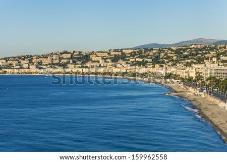 France , Nice. View of the city from the hill Chateau - stock photo