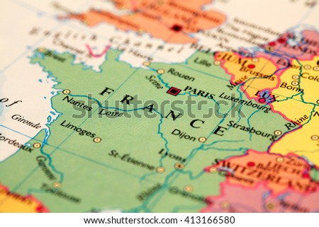 France on atlas world map