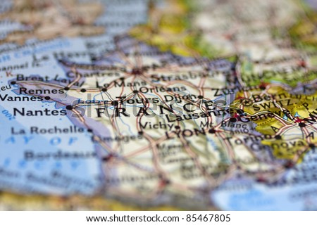 France on the map. - stock photo
