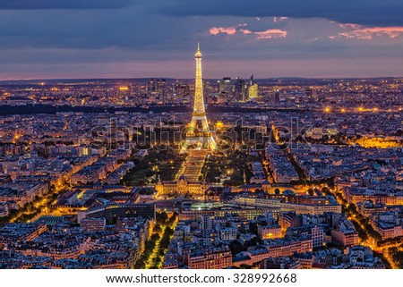 France, Paris - August 03, 2015: Night view of Paris and the Eiffel Tower - stock photo