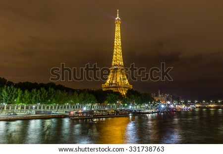 France, Paris - August 21, 2015: Night view of Paris and the Eiffel Tower