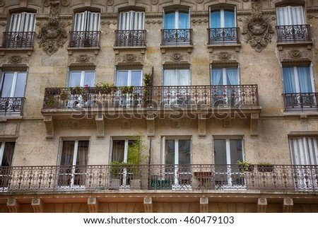 FRANCE. Paris. Beautiful Parisian Architecture Old town. Facade of the building with Balconies