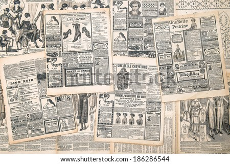 FRANCE, PARIS - CIRCA 1919: newspaper pages with antique advertisement. Woman's fashion magazine Le Petit Echo de la Mode - stock photo