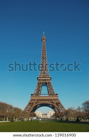 FRANCE PARIS EIFFEL TOWER BLUE SKY