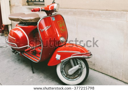 FRANCE, PARIS-OCTOBER 5, 2015: Red vintage vespa sprint scooter