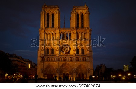 FRANCE. PARIS - OCTOBER 1, 2016: Tourists visiting the Cathedrale Notre Dame de Paris is a most famous cathedral (1163 - 1345) on the eastern half of the Cite Island