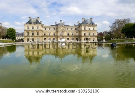 France, Paris. The ancient palace in the Luxembourg garden - stock photo