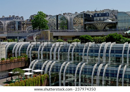 France, Paris, the old view of Les Halles place (shopping mall built on the place of middle-age marketplace), now this area is completely rebuilt - stock photo
