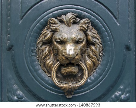 Charmant France, Paris. Typical Architectural Details. The Door Handle In The Form  Of The