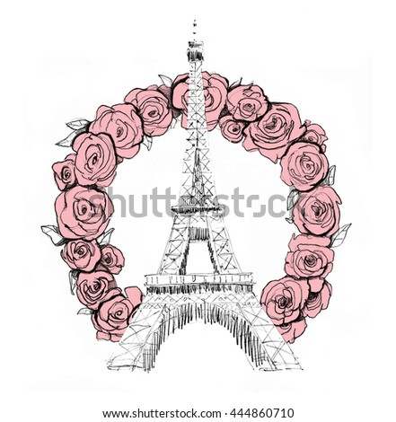Tower Eiffel Paris Lettering Vector Illustration Stock Vector 207691363 - Shutterstock