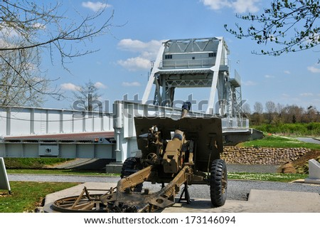 France, Pegasus bridge in the village of Benouville in Normandie - stock photo