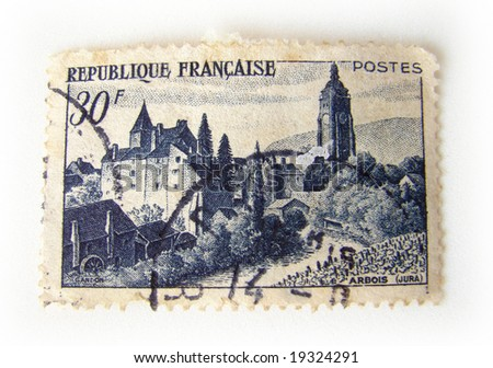 France postage stamp on white background