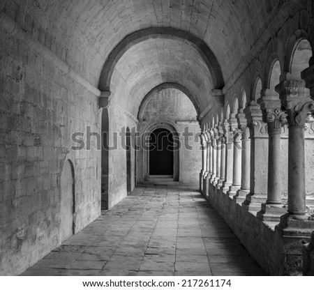 France, Provence. Senanque Abbey corridor detail. More than 800 years of history in this picture. - stock photo