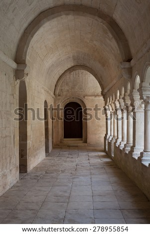 France, Provence. Senanque Abbey corridor detail. More than 800 years of history in this picture.