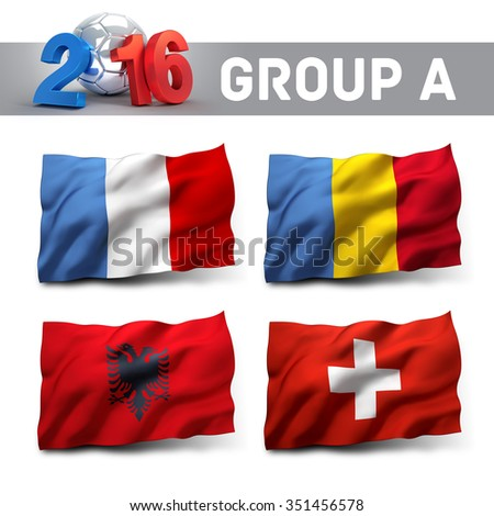 France 2016 qualifying group A with team flags. European soccer competition. - stock photo