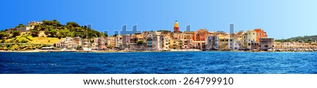 France - Saint Tropez - panoramic view from sea - stock photo