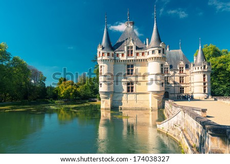 FRANCE - SEPTEMBER 22, 2013: Tourists visiting the chateau de Azay-le-Rideau, France. This castle is located in the Loire Valley, was built from 1515 to 1527.